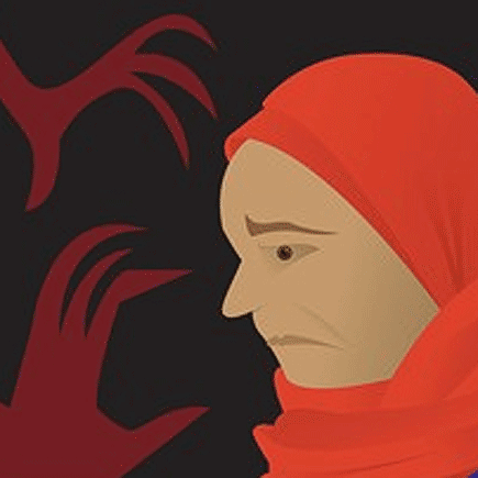 Ilustration of Muslim woman and the fear.