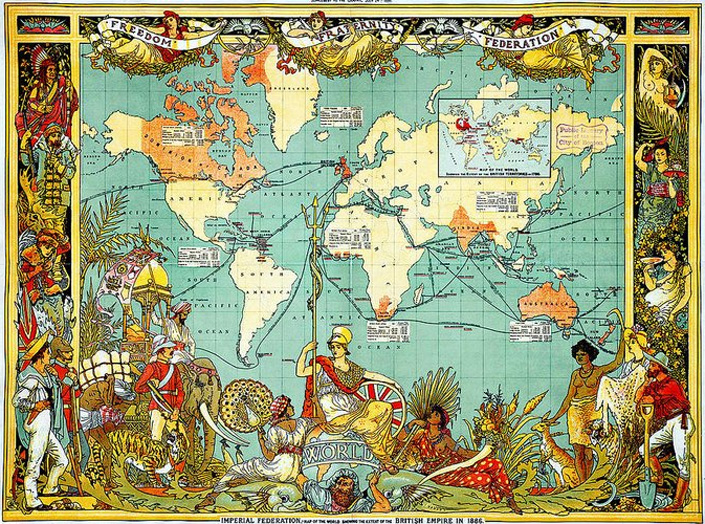 Map of the British Empire in 1886.