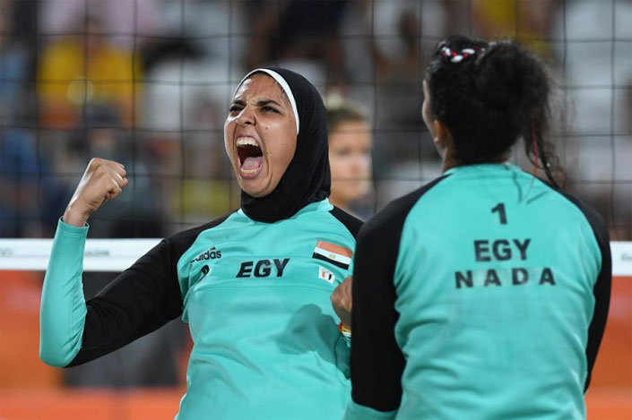 Egyptian women playing volley at Olympics
